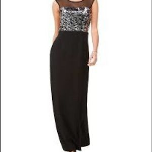 Vince Camuto Black Sequin Sheer Accent Maxi Dress